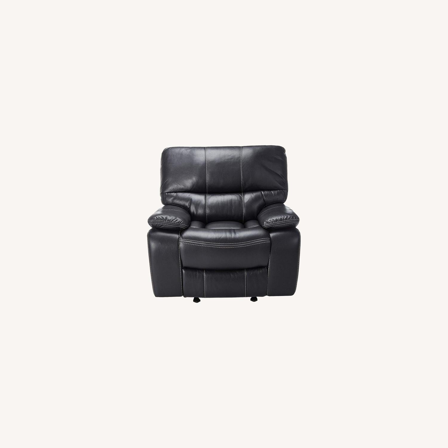 Glider Recliner W/ Scooped Seating In Black Finish - image-6