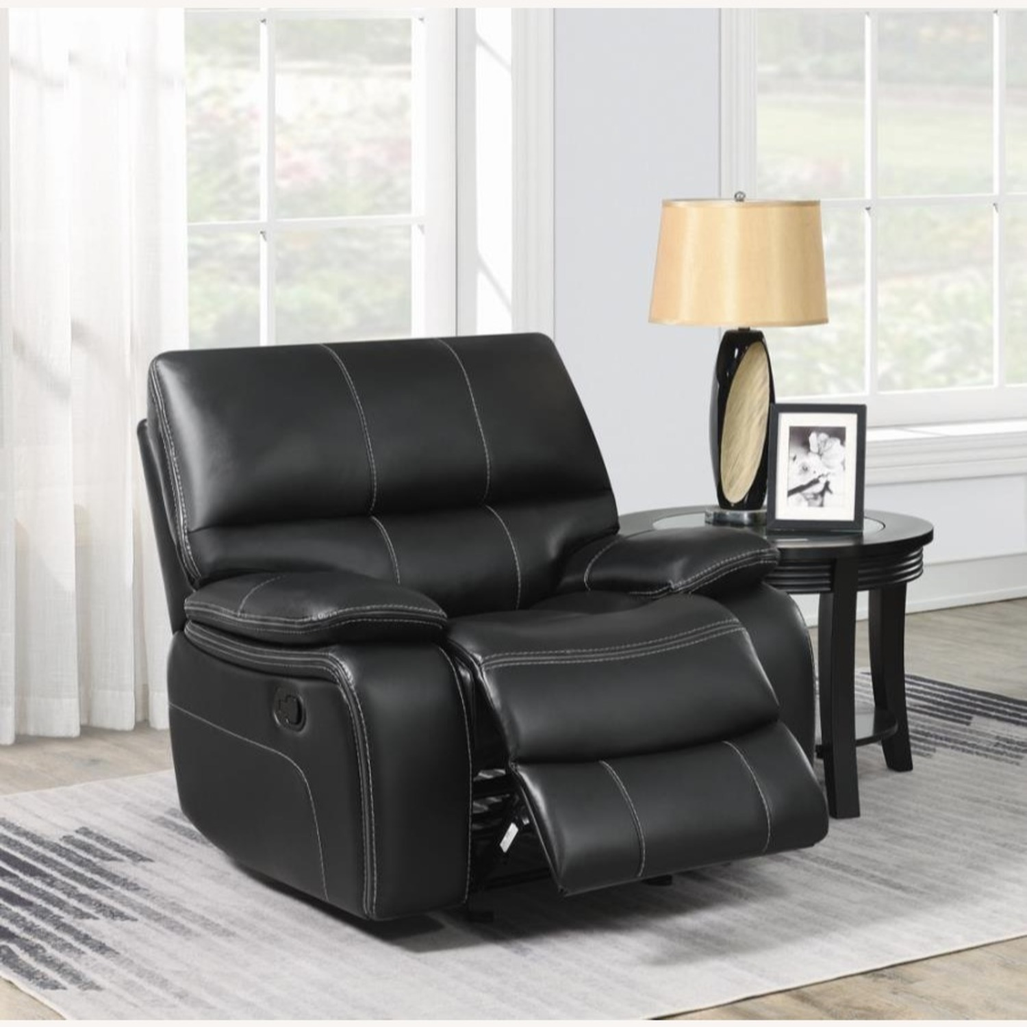 Glider Recliner W/ Scooped Seating In Black Finish - image-4