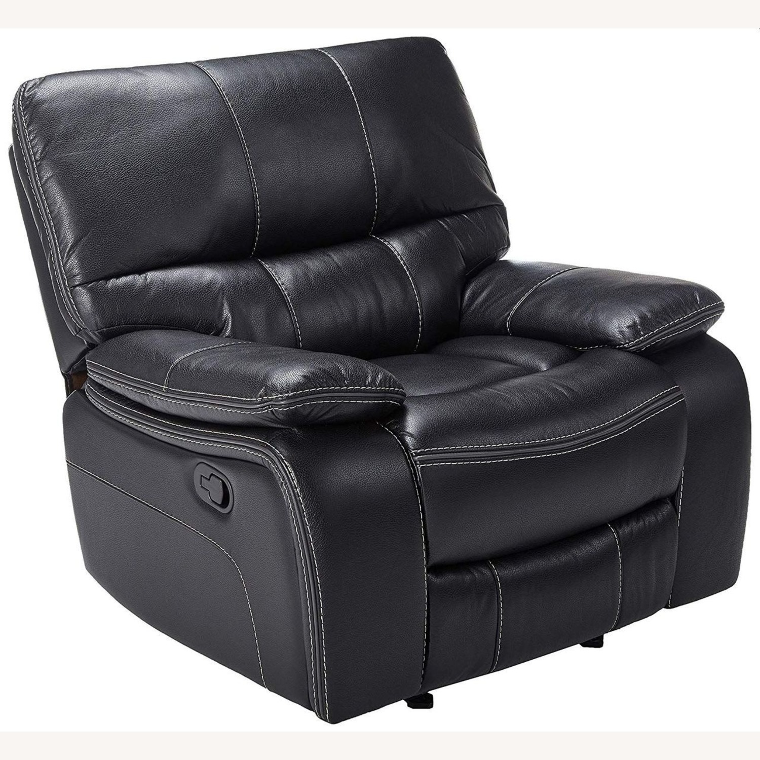 Glider Recliner W/ Scooped Seating In Black Finish - image-0
