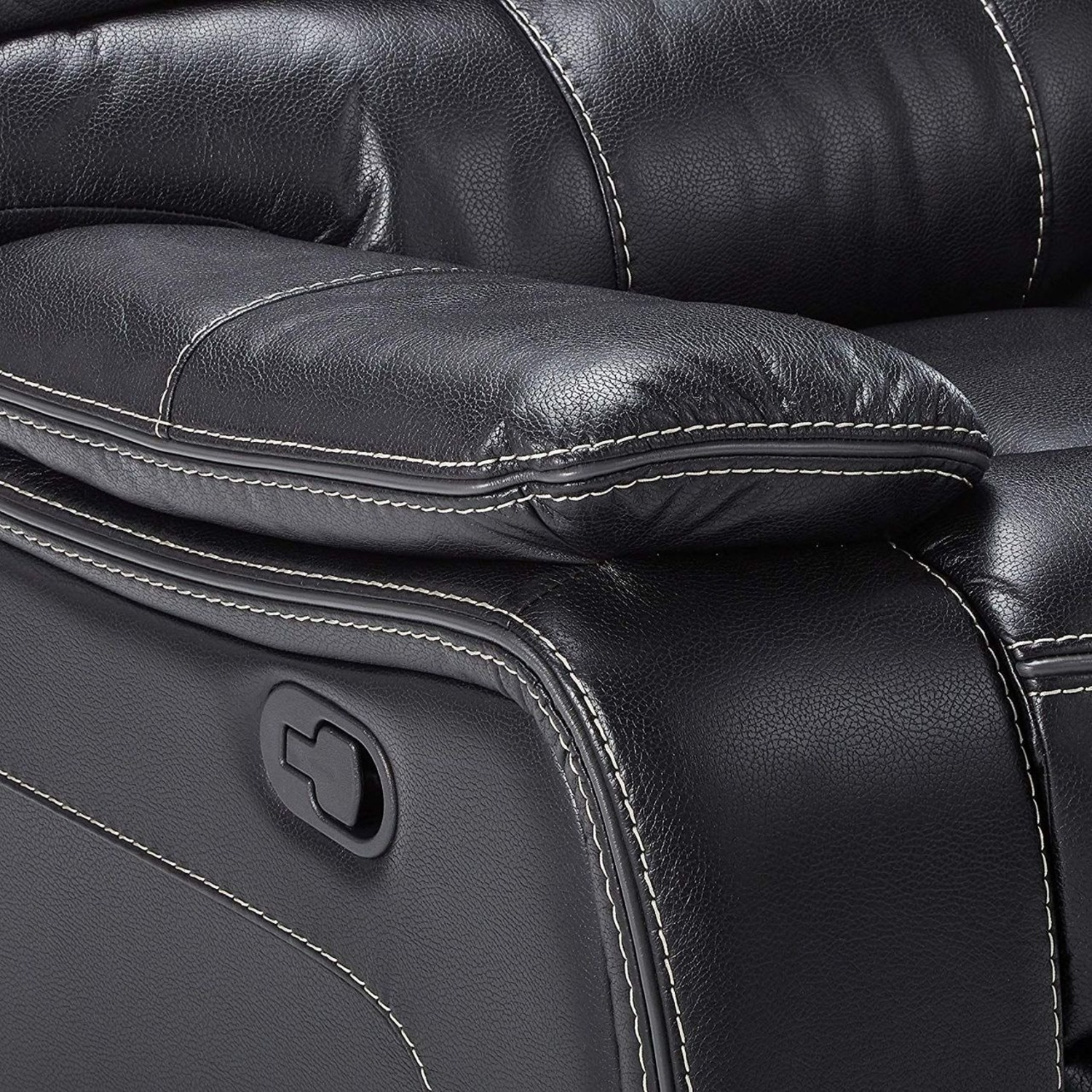 Glider Recliner W/ Scooped Seating In Black Finish - image-3