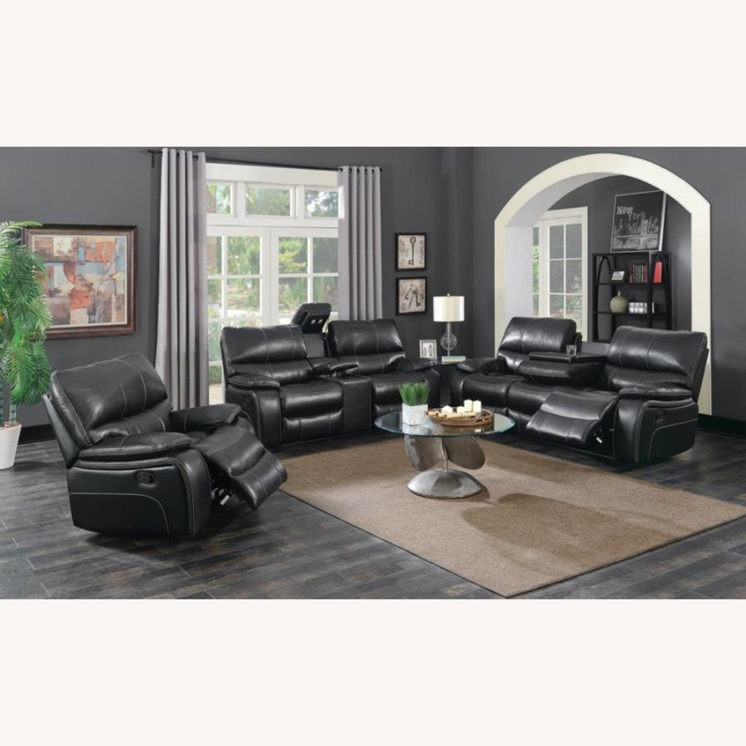 Glider Recliner W/ Scooped Seating In Black Finish - image-5