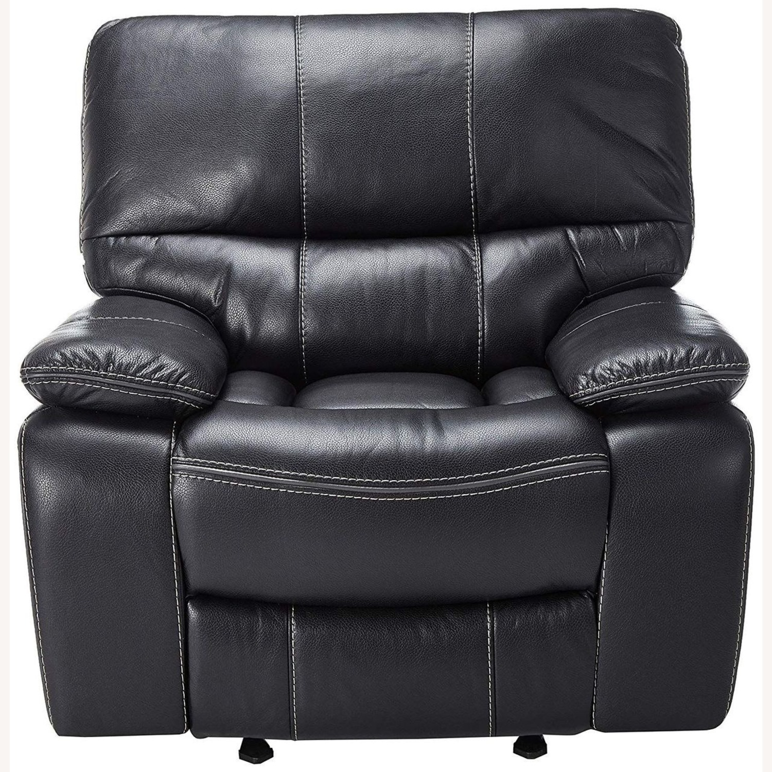 Glider Recliner W/ Scooped Seating In Black Finish - image-1
