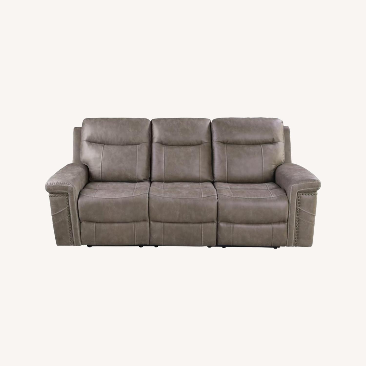 Power Sofa Recliner In Taupe Upholstery - image-8