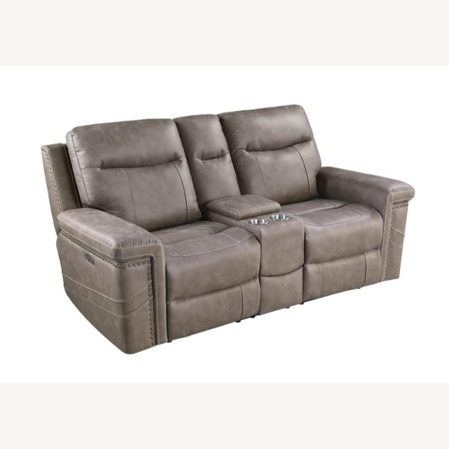 Power Loveseat Recliner In Taupe Upholstery - image-9