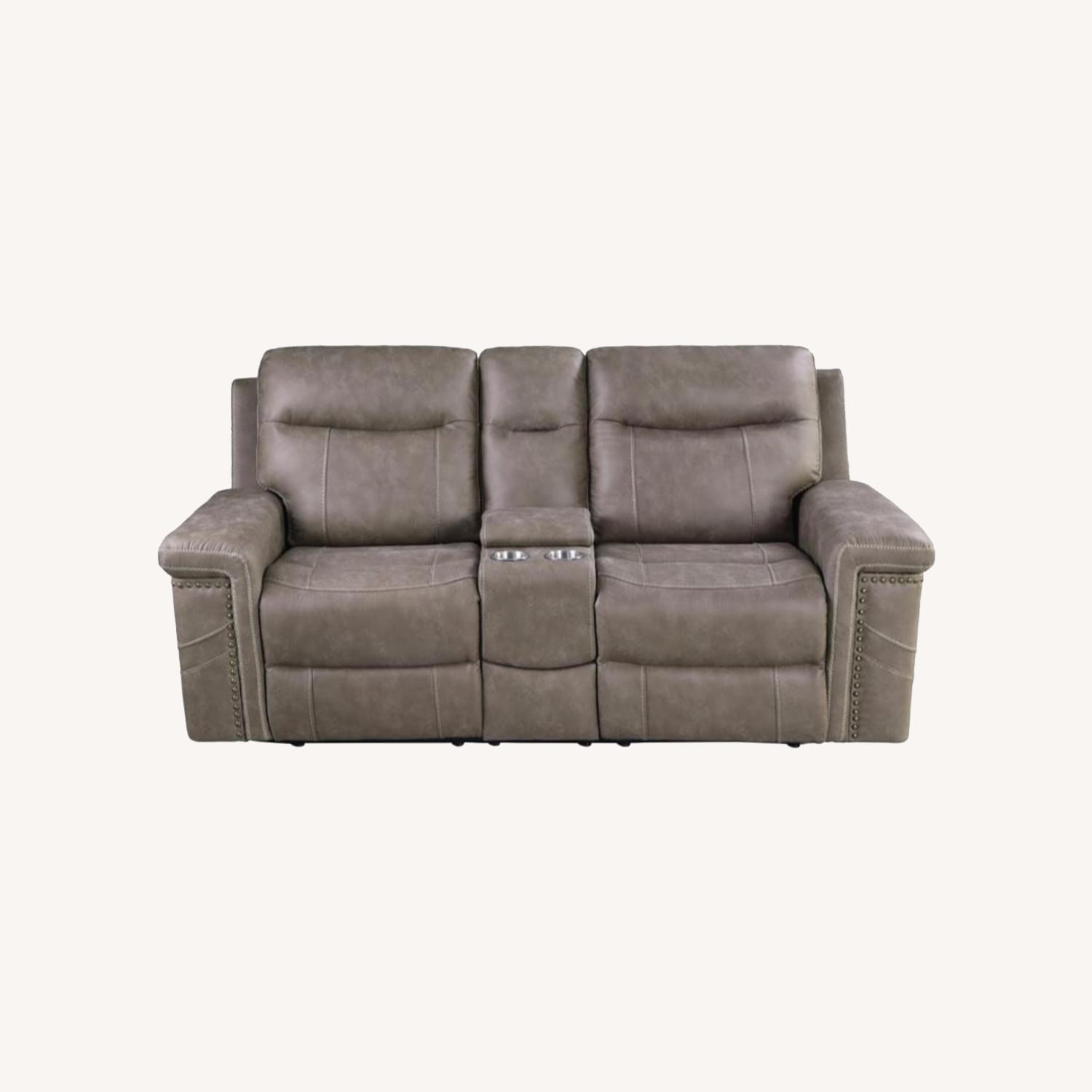 Power Loveseat Recliner In Taupe Upholstery - image-18
