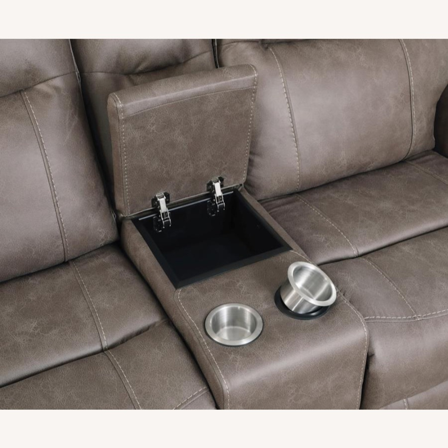 Power Loveseat Recliner In Taupe Upholstery - image-15