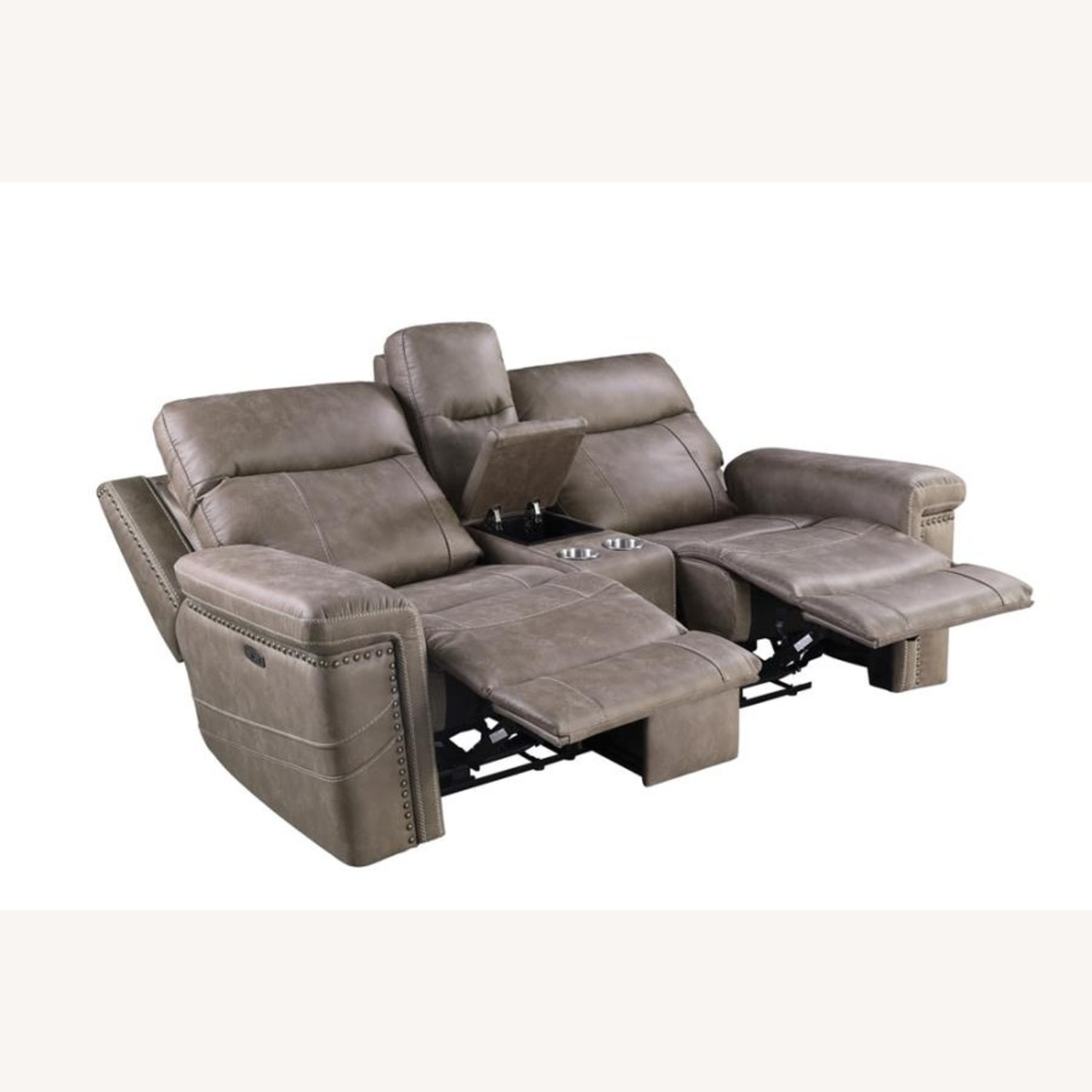 Power Loveseat Recliner In Taupe Upholstery - image-10