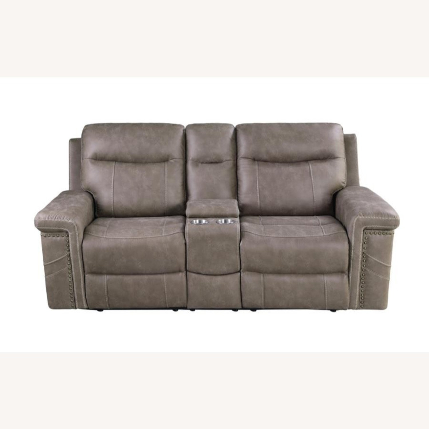 Power Loveseat Recliner In Taupe Upholstery - image-2