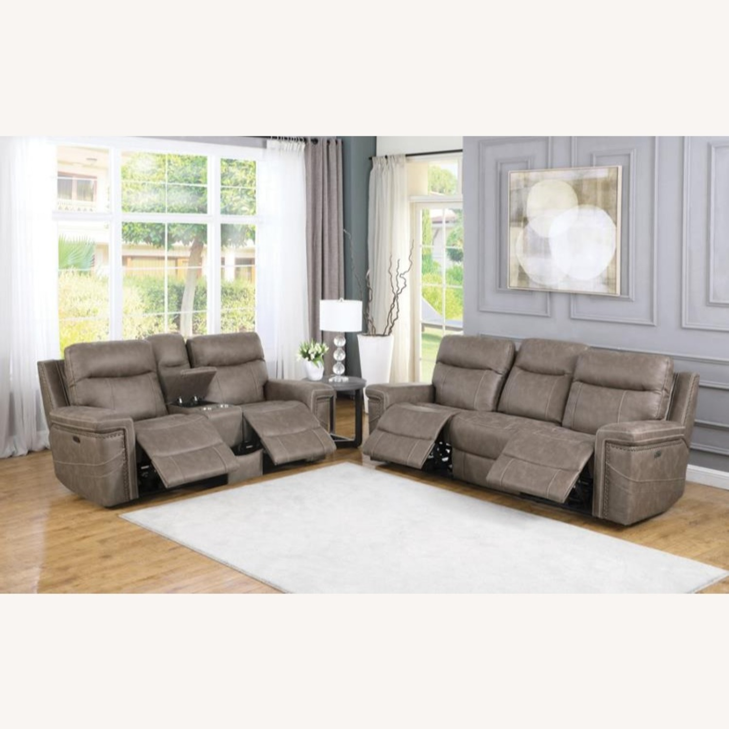 Power Loveseat Recliner In Taupe Upholstery - image-8