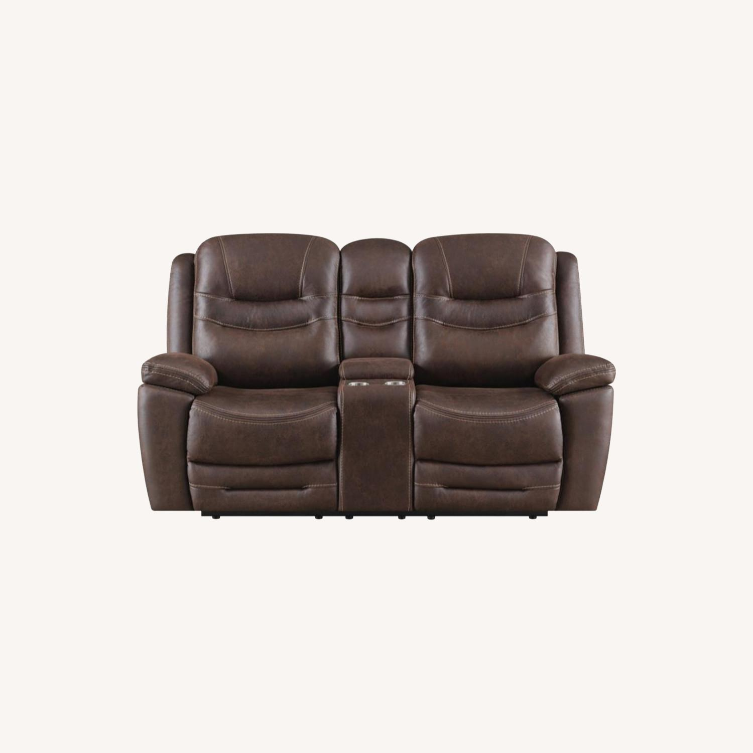 Power Loveseat Recliner In Chocolate Upholstery - image-8