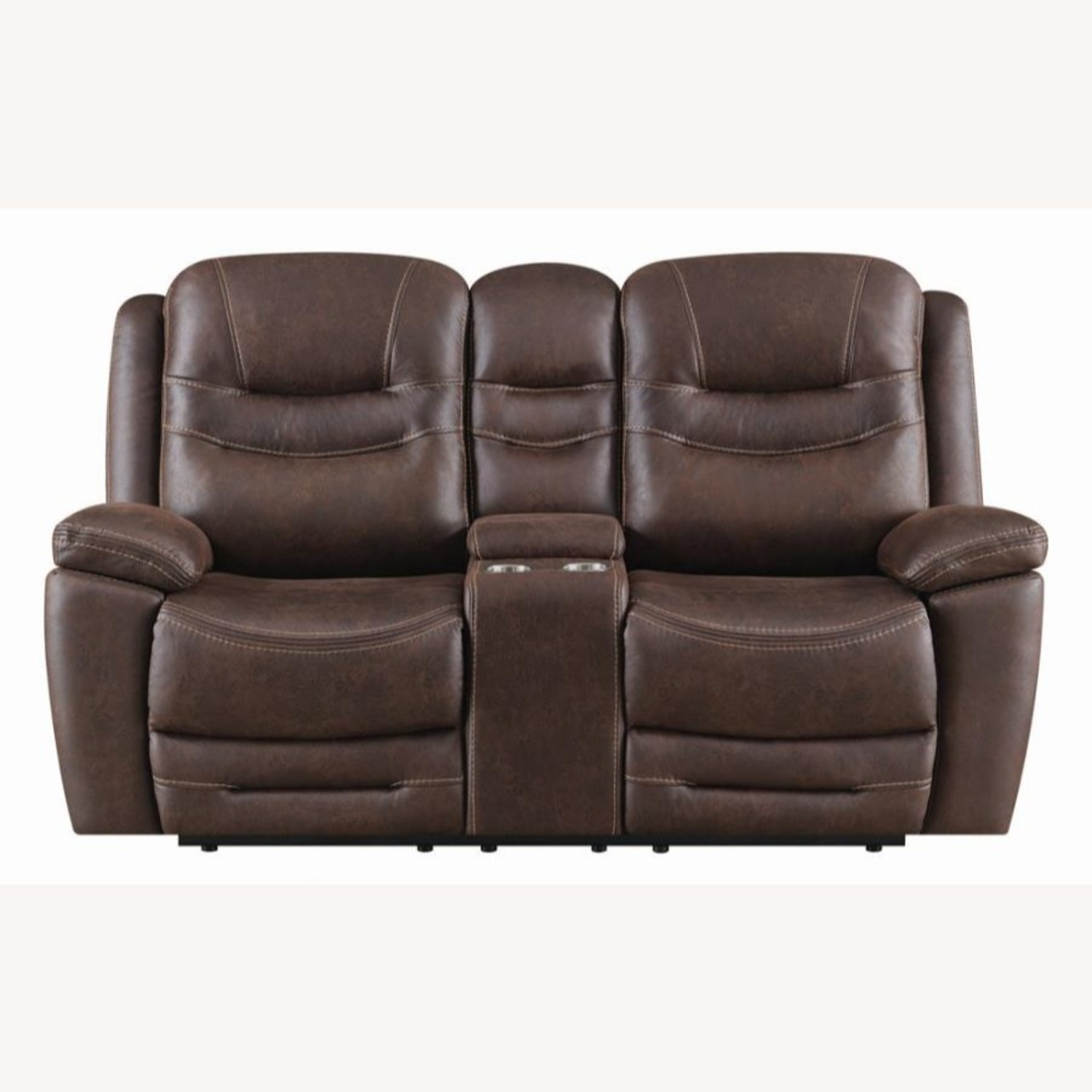 Power Loveseat Recliner In Chocolate Upholstery - image-2