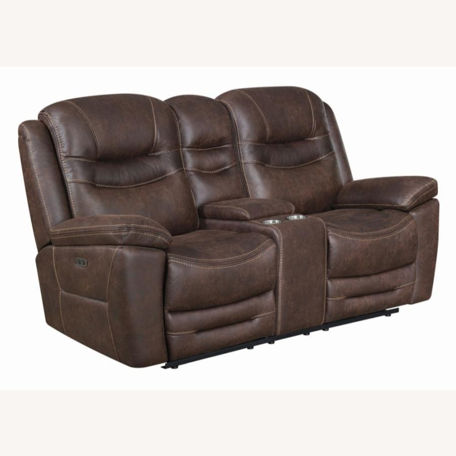Power Loveseat Recliner In Chocolate Upholstery - image-0