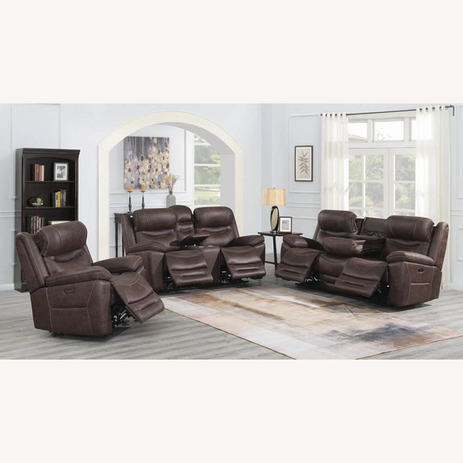Power Loveseat Recliner In Chocolate Upholstery - image-7
