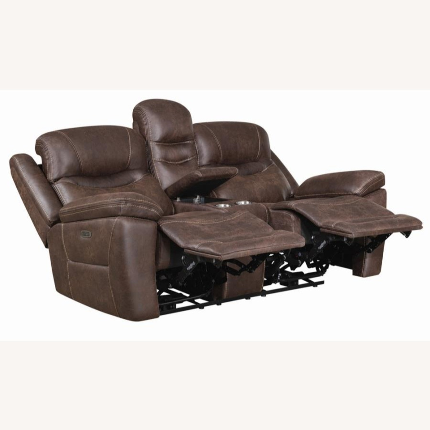 Power Loveseat Recliner In Chocolate Upholstery - image-1