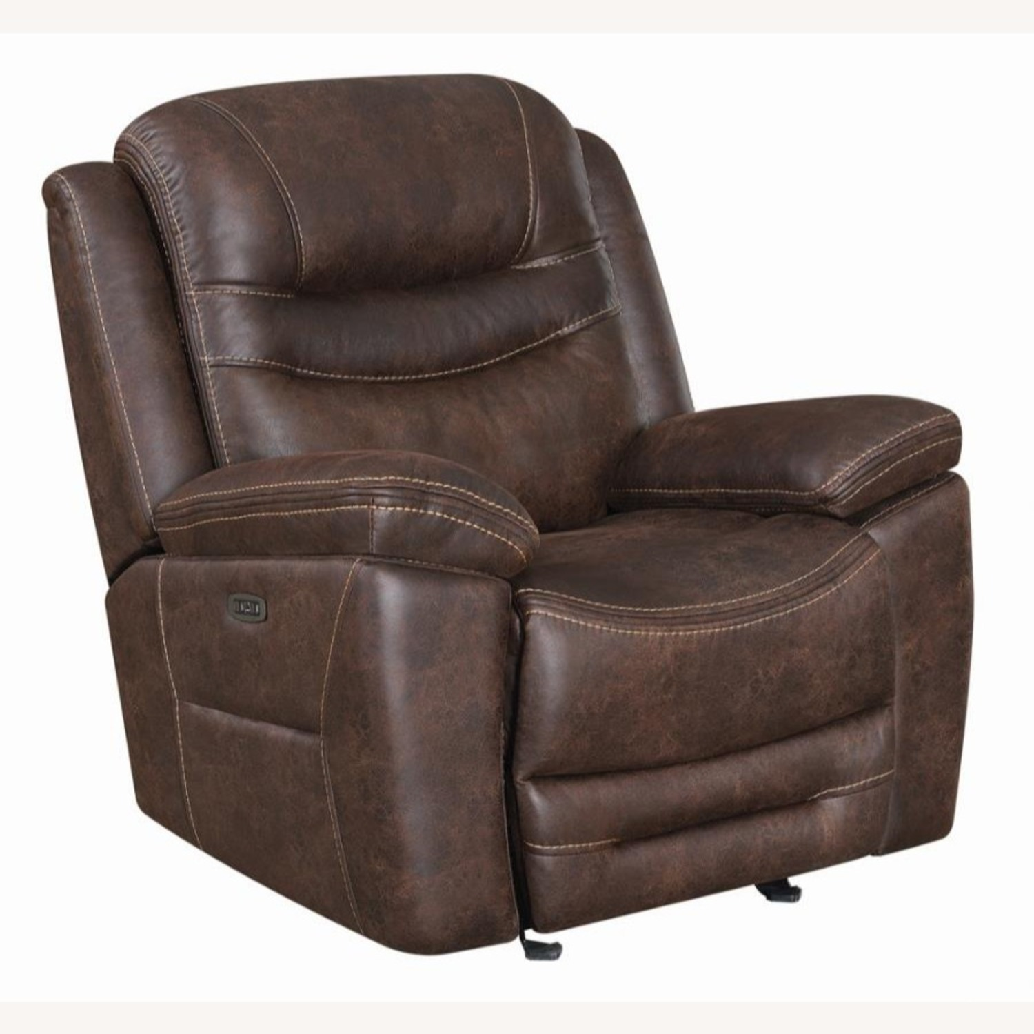 Power Glider Recliner In Chocolate Faux Upholstery - image-0