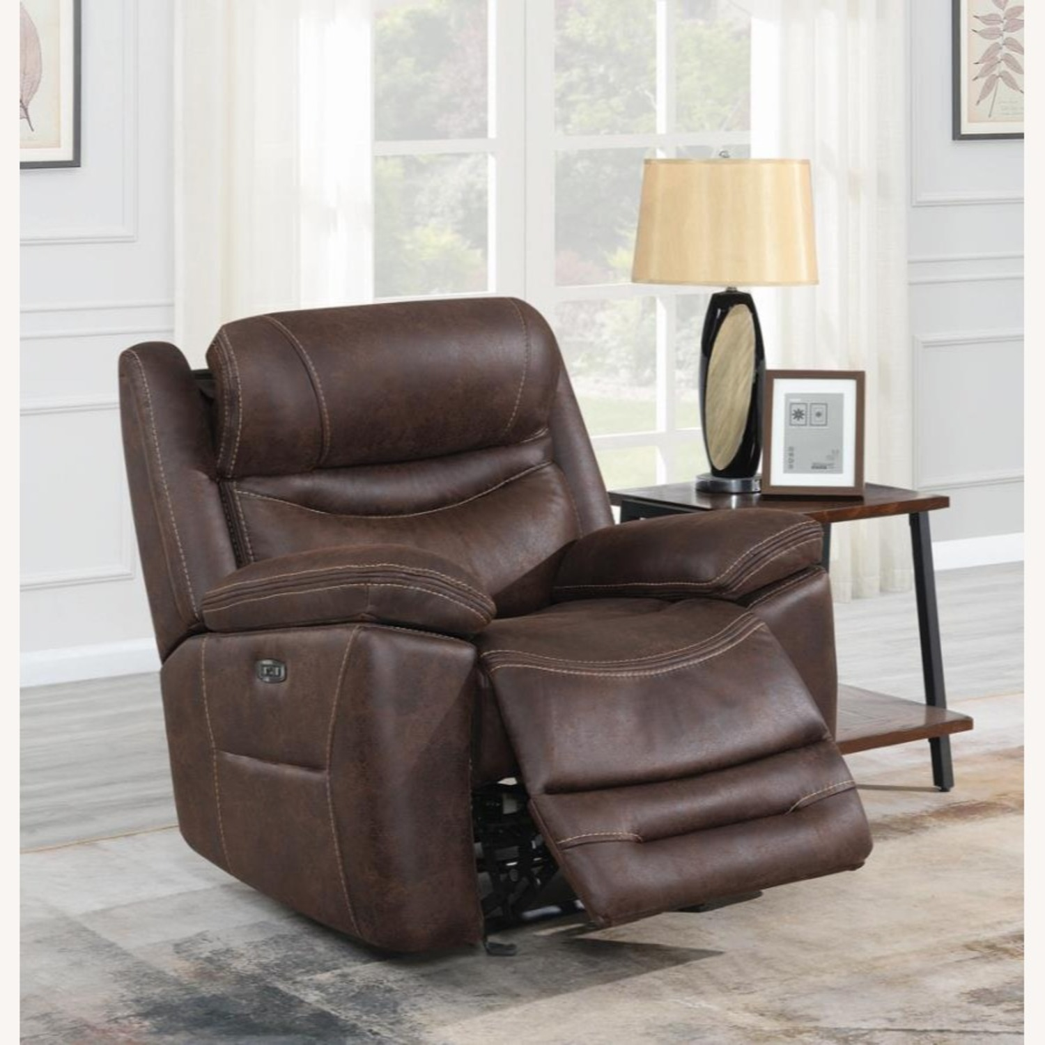 Power Glider Recliner In Chocolate Faux Upholstery - image-8
