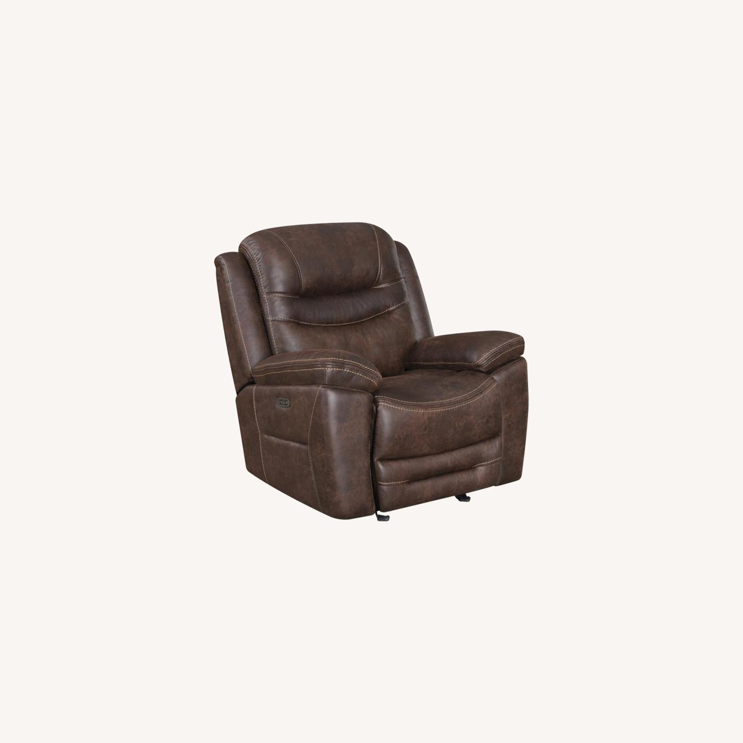 Power Glider Recliner In Chocolate Faux Upholstery - image-10