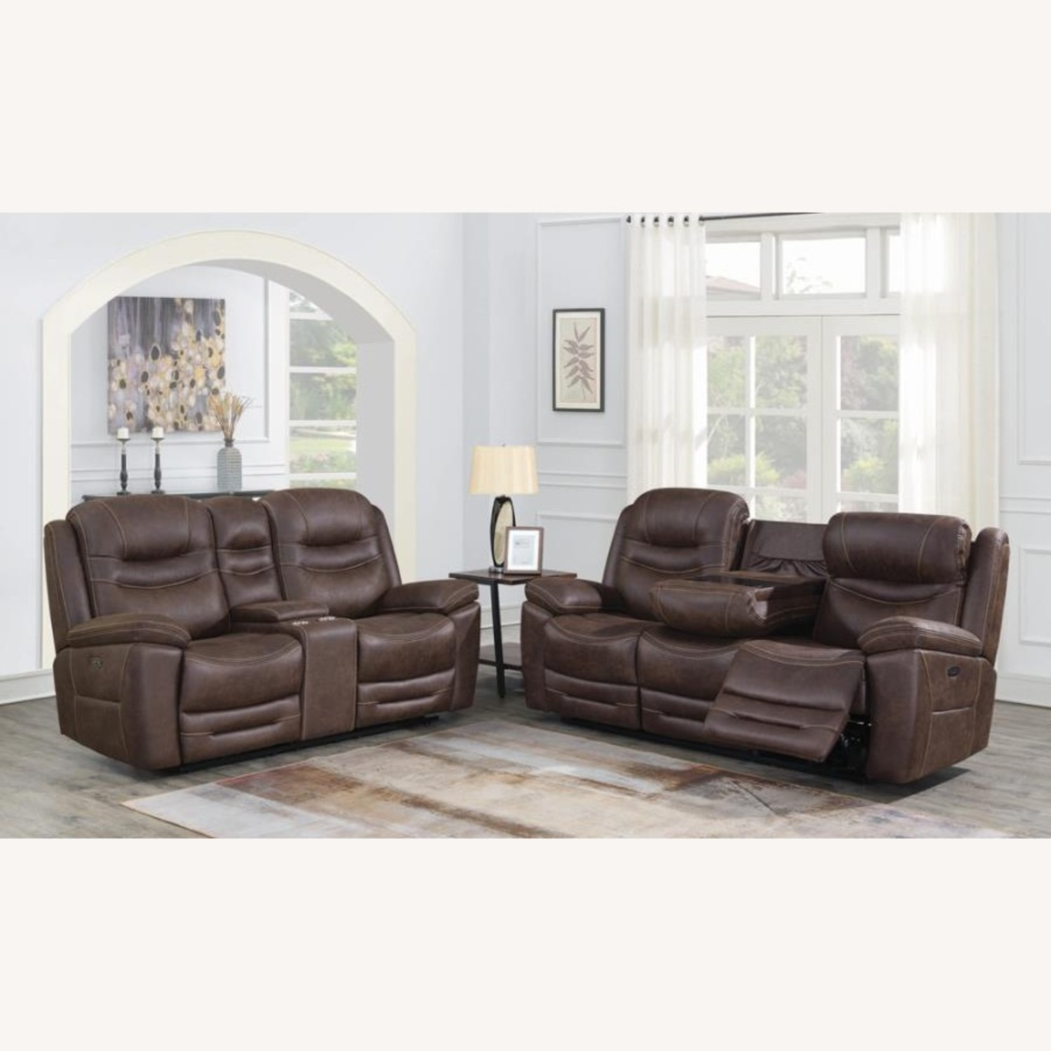 Power Glider Recliner In Chocolate Faux Upholstery - image-9