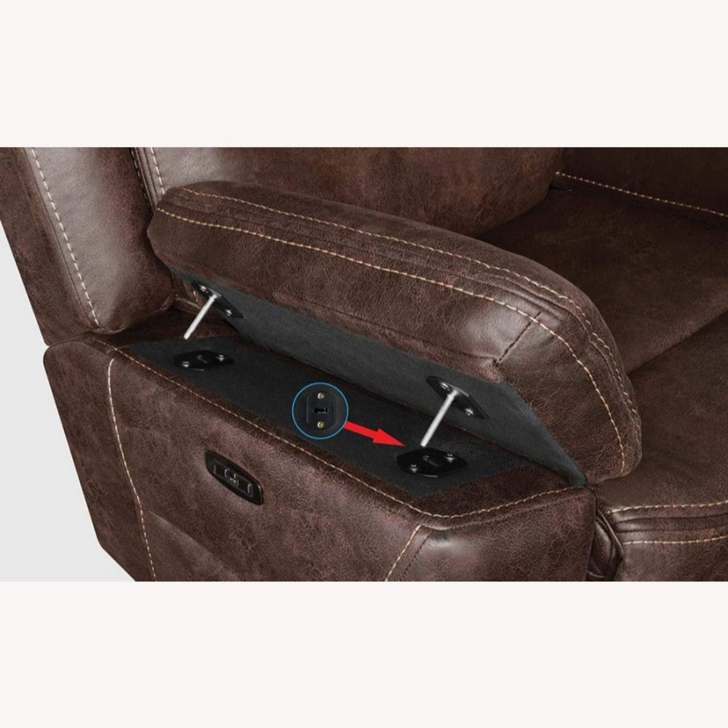 Power Glider Recliner In Chocolate Faux Upholstery - image-5
