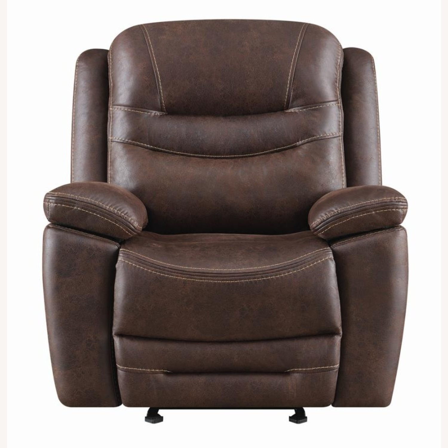 Power Glider Recliner In Chocolate Faux Upholstery - image-2