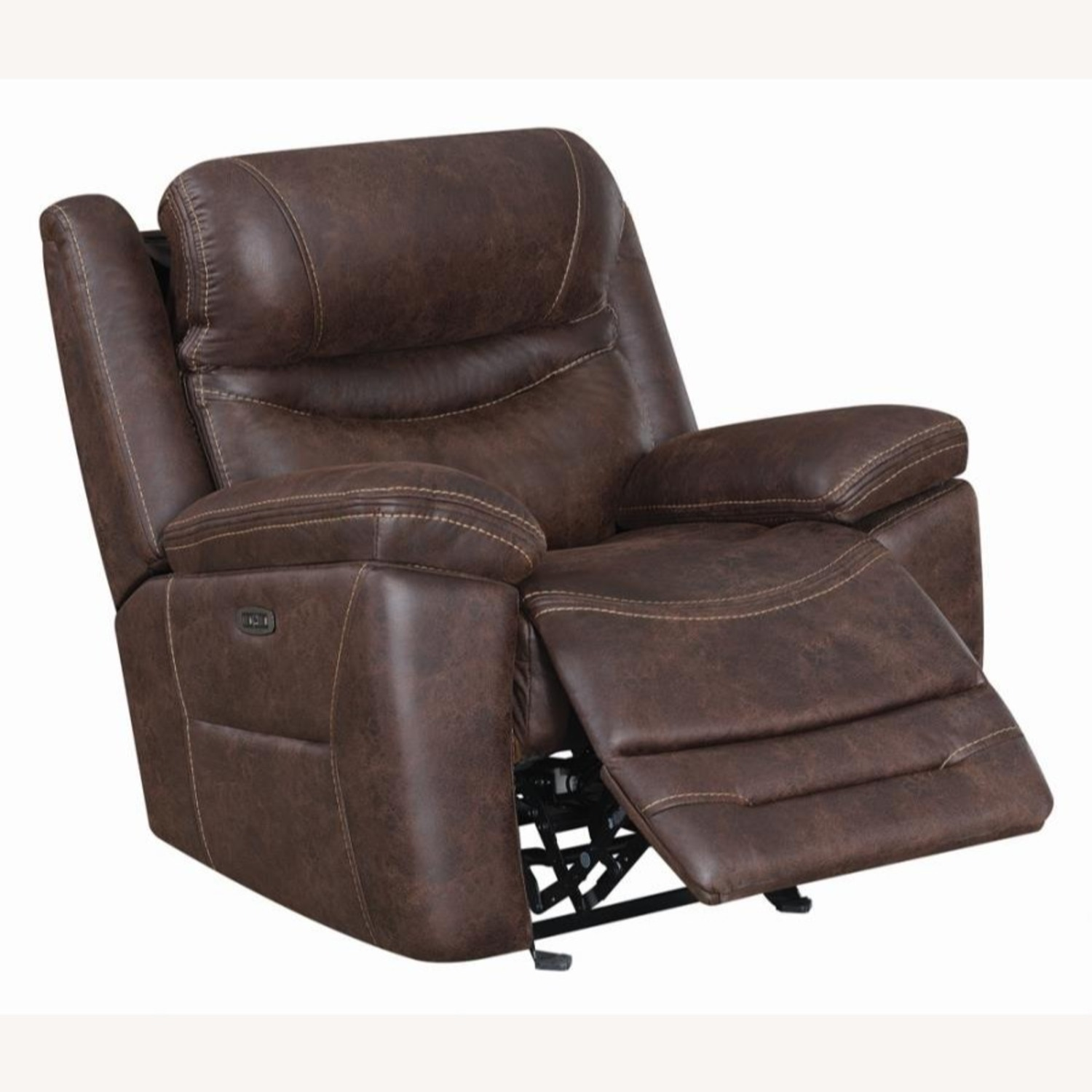 Power Glider Recliner In Chocolate Faux Upholstery - image-1