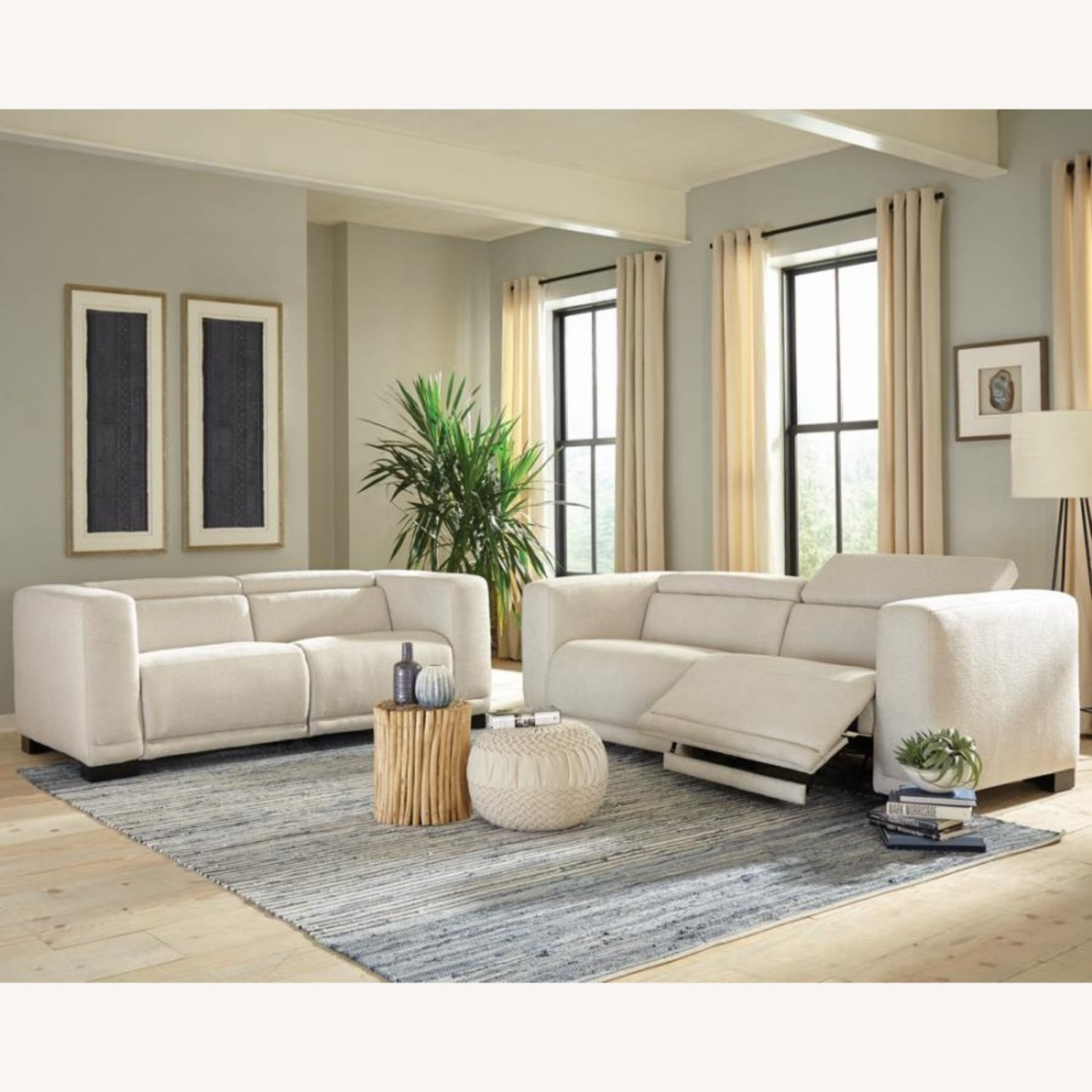 Power Recliner Sofa In Beige Performance Chenille - image-6