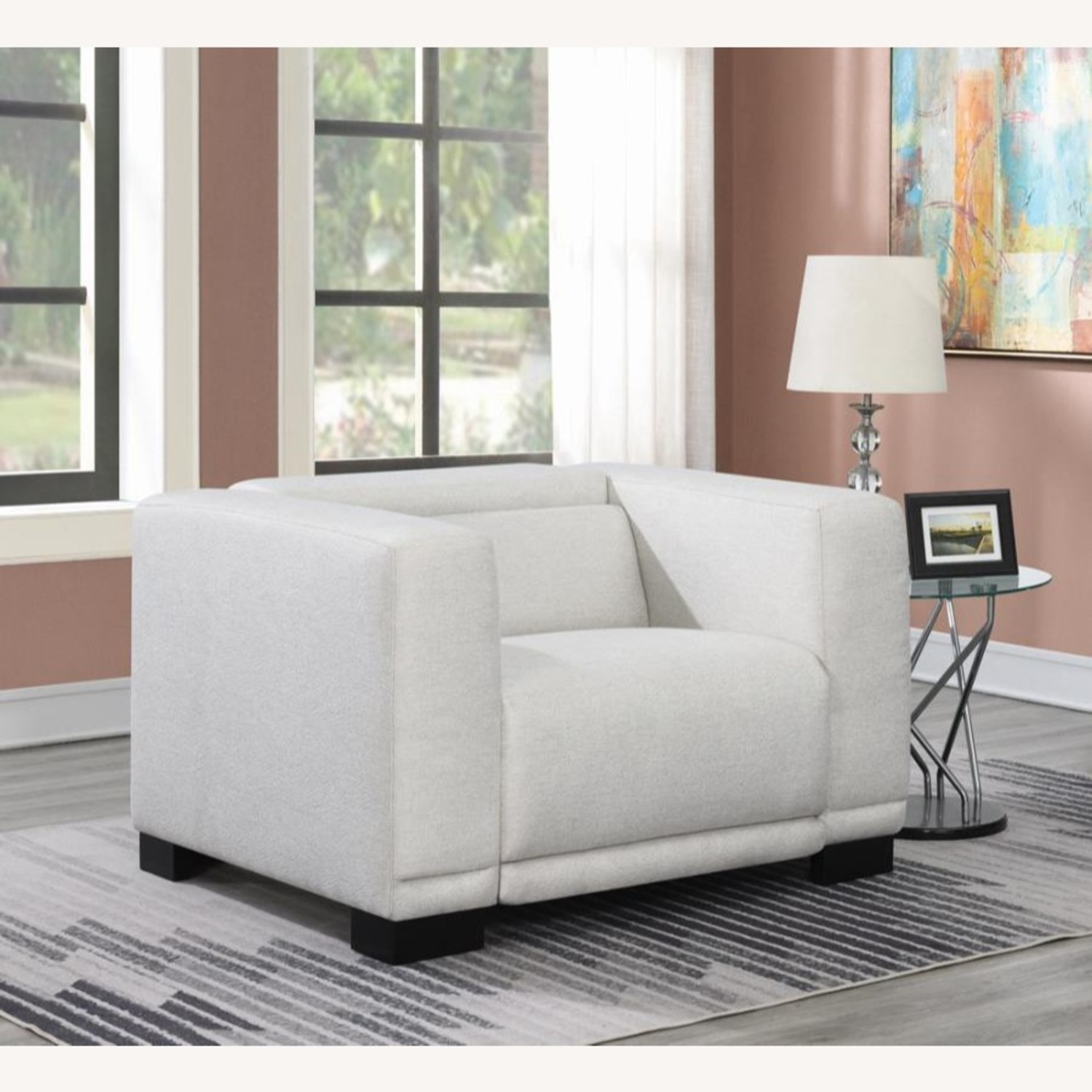 Power Recliner In Beige Chenille Fabric - image-7