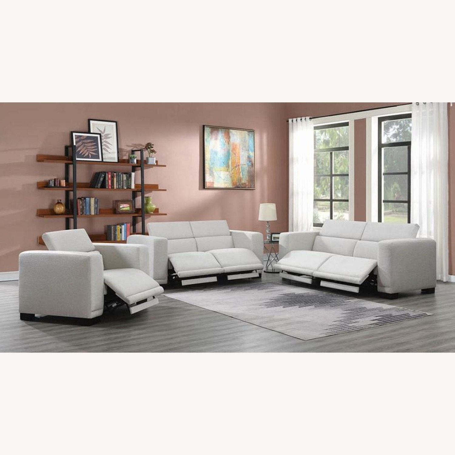 Power Recliner In Beige Chenille Fabric - image-8
