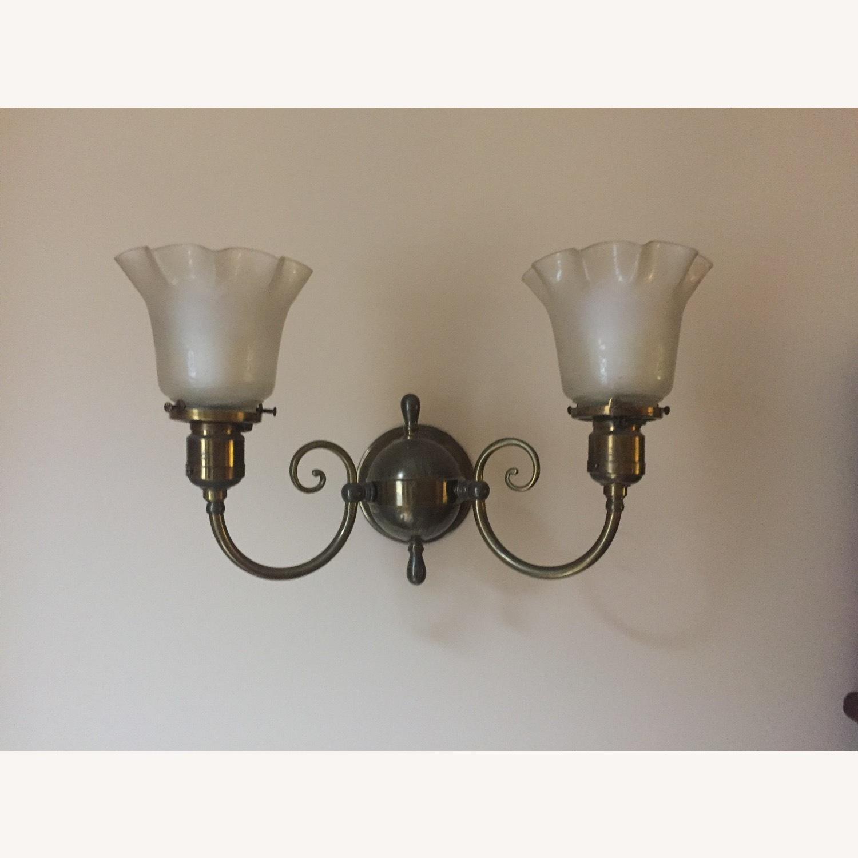 Antique Pair of Glass, Brass Sconces - image-2