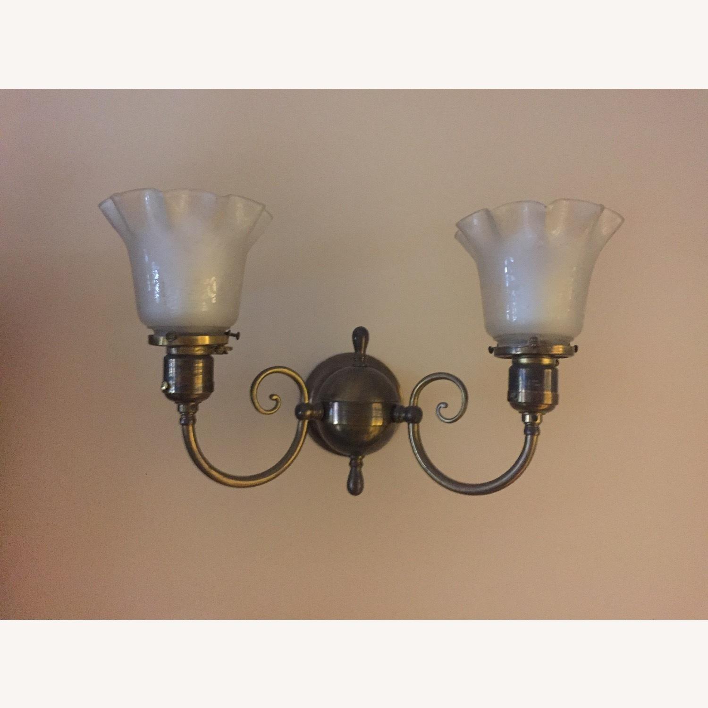 Antique Pair of Glass, Brass Sconces - image-3