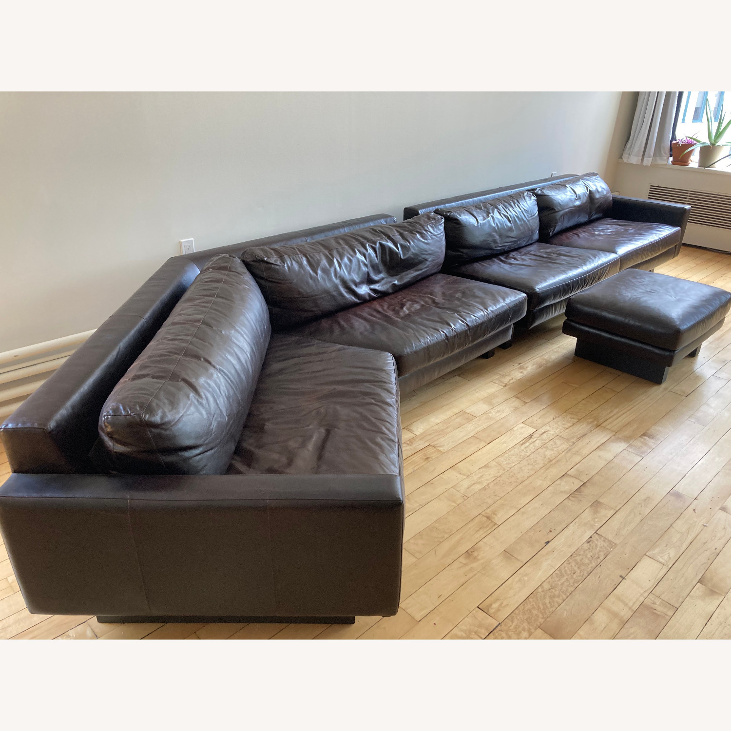 Room and Board Hesse Leather Couch Custom Sofa - image-2
