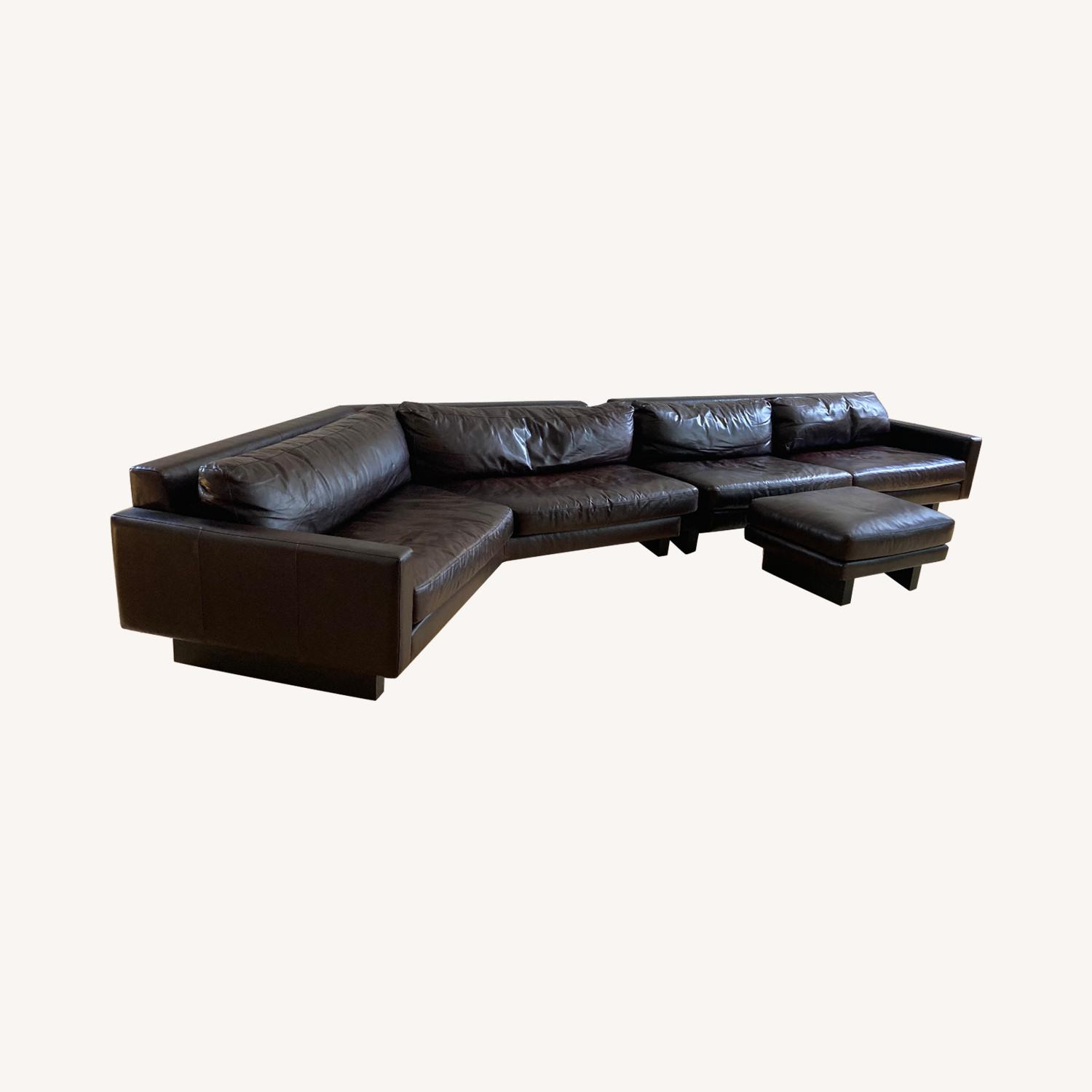 Room and Board Hesse Leather Couch Custom Sofa - image-0