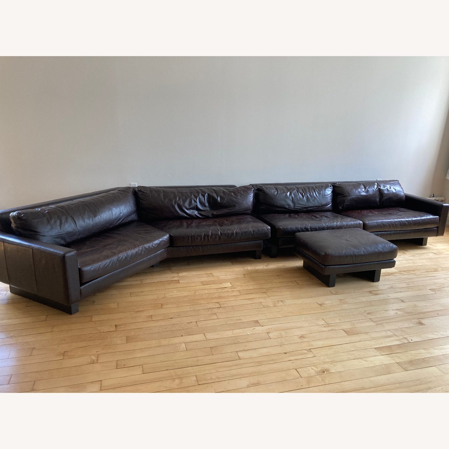 Room and Board Hesse Leather Couch Custom Sofa - image-1