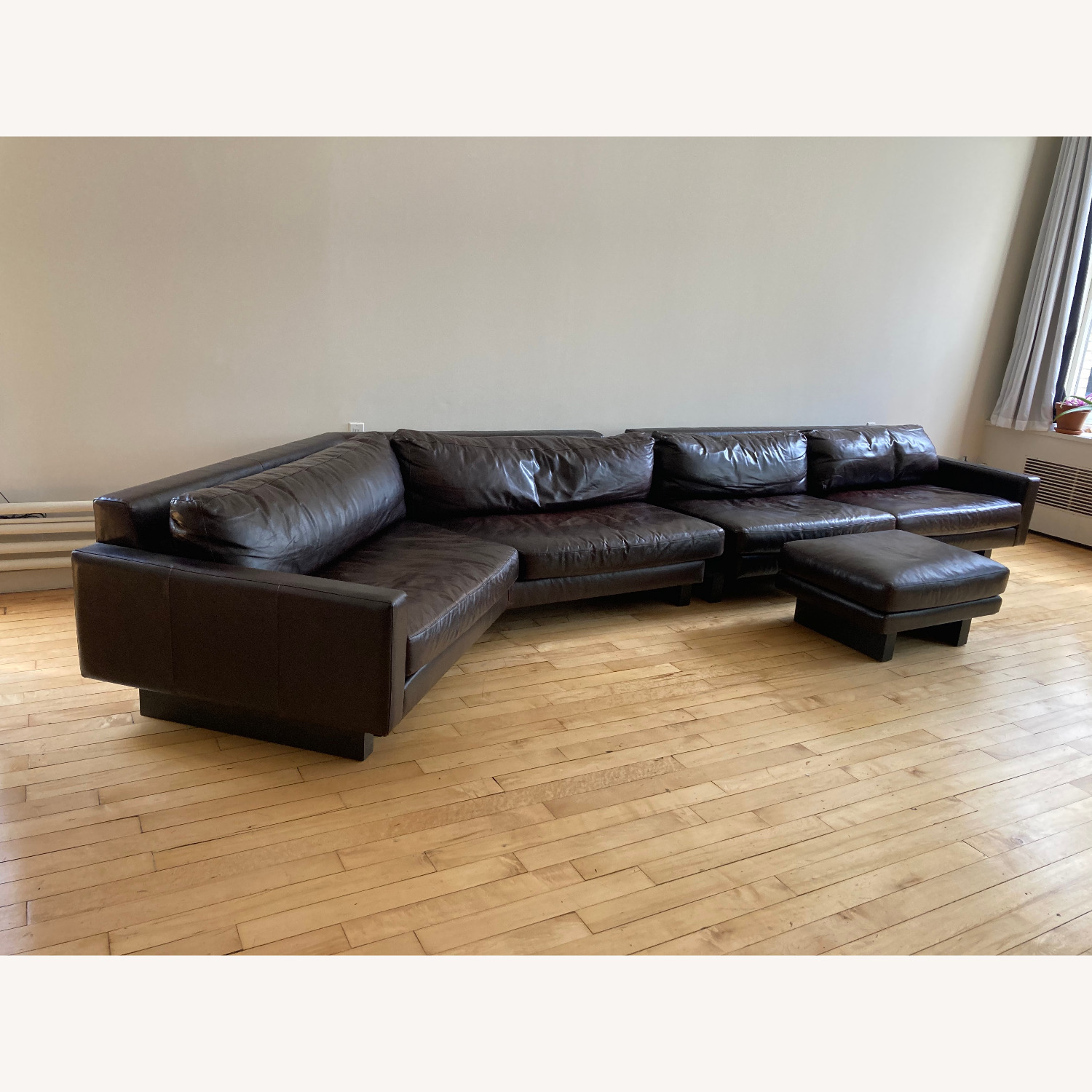 Room and Board Hesse Leather Couch Custom Sofa - image-3