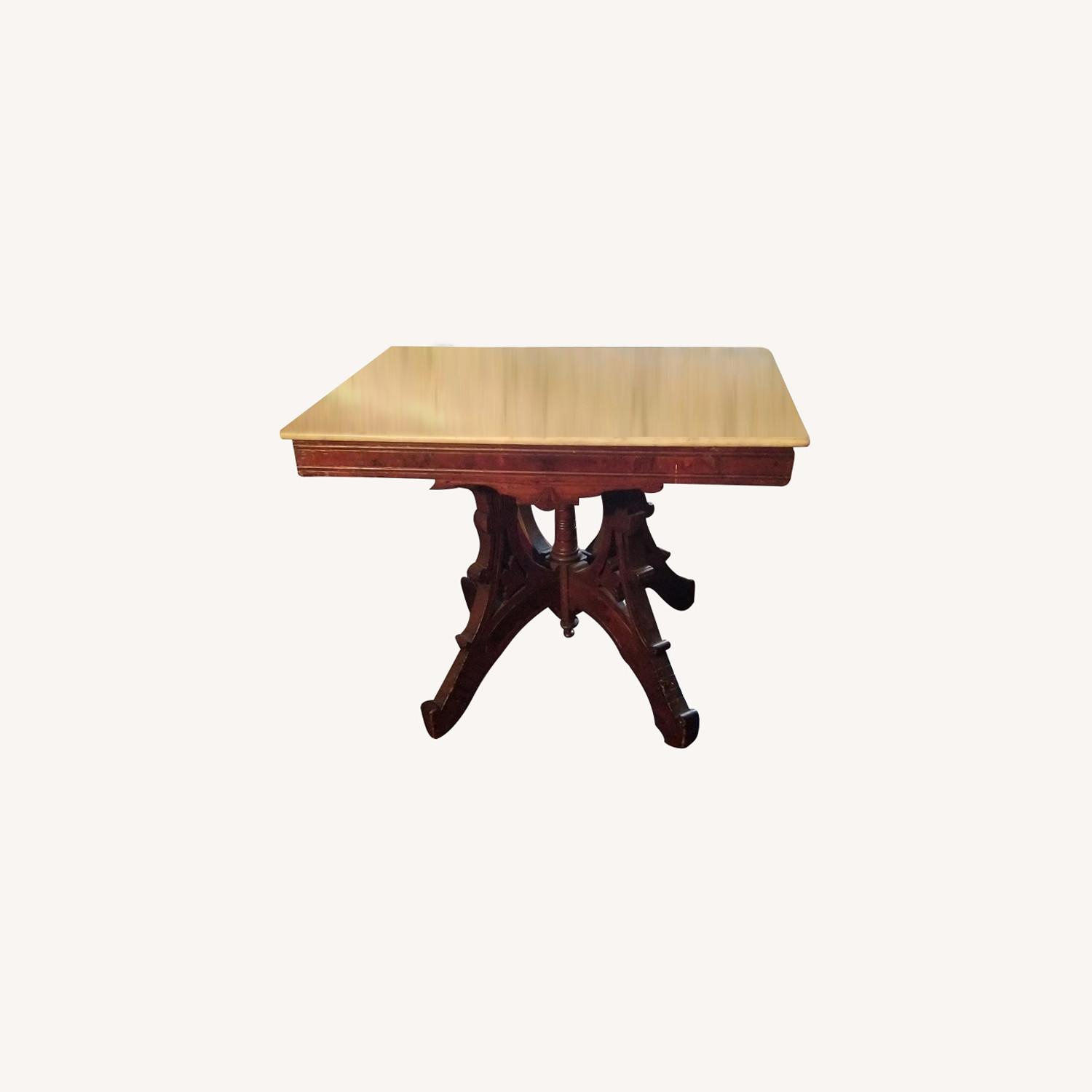 Mahogany/ Marble Living Room Table - image-0