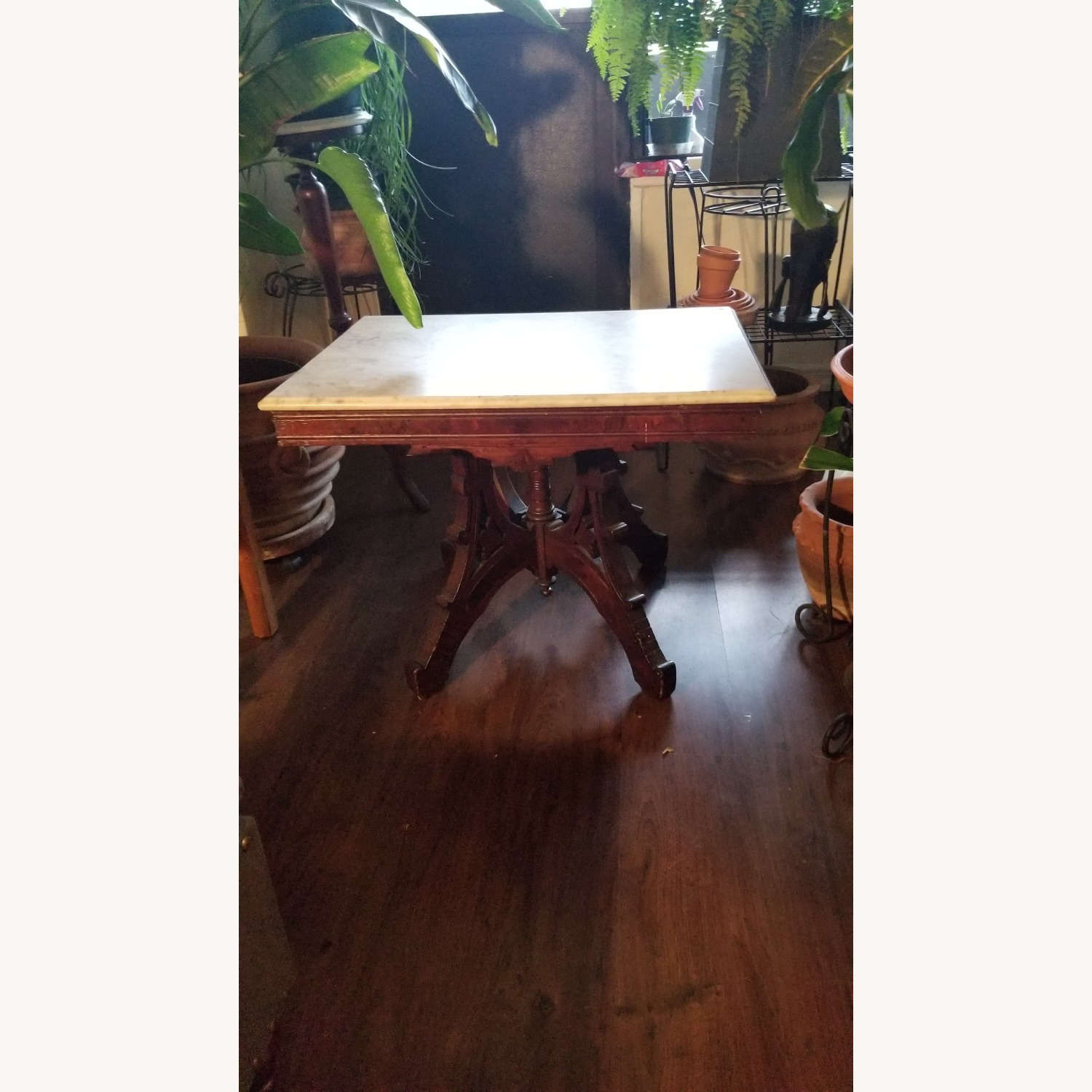 Mahogany/ Marble Living Room Table - image-1