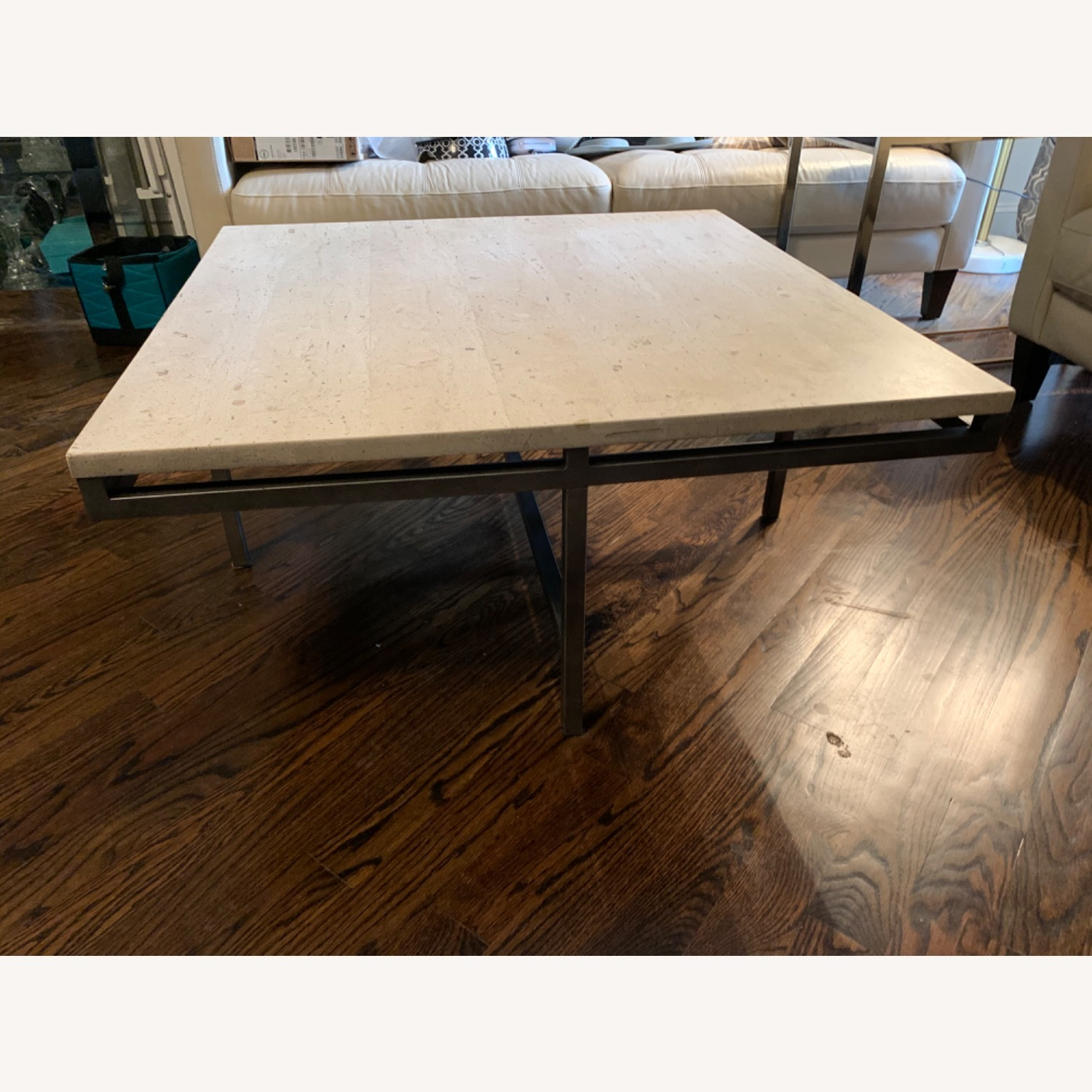 Modern Travertine Coffee Table - image-4