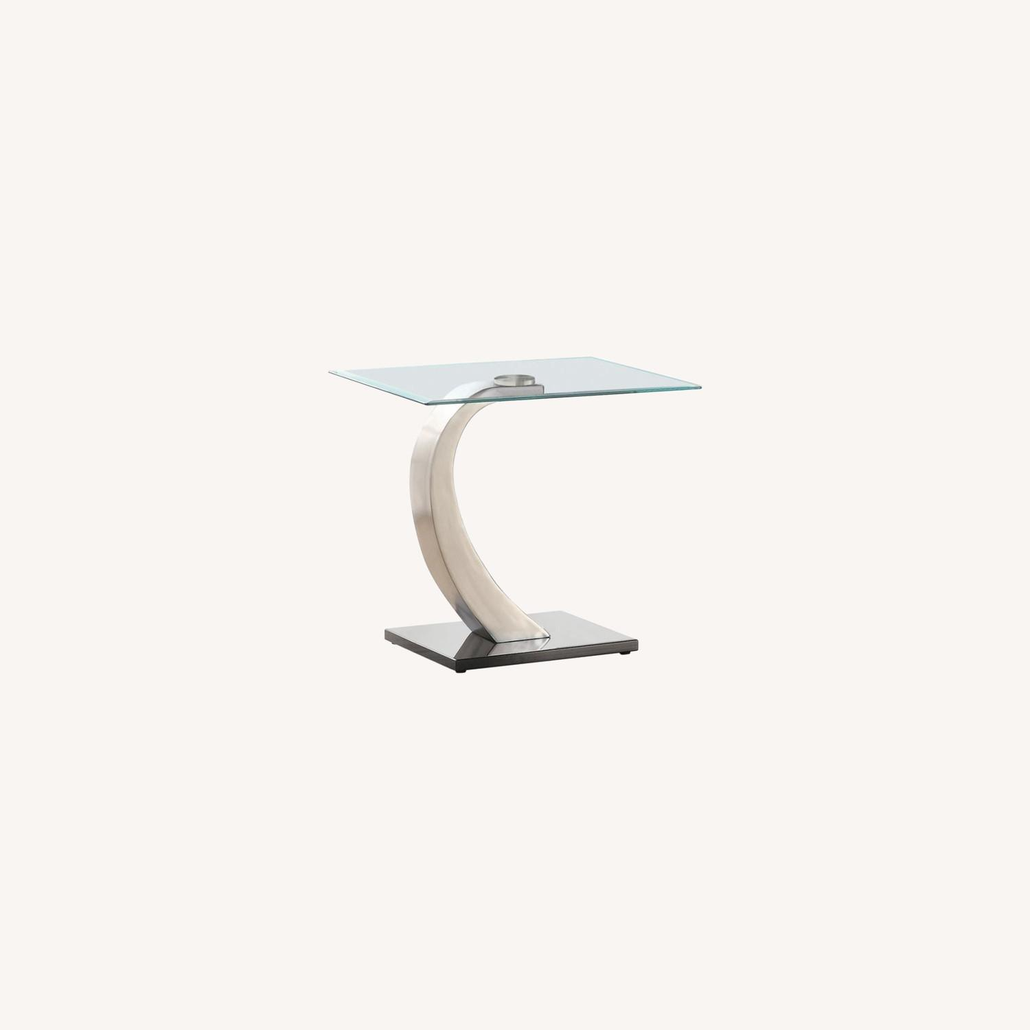 Ultra-Modern End Table W/ Floating Glass Top - image-3