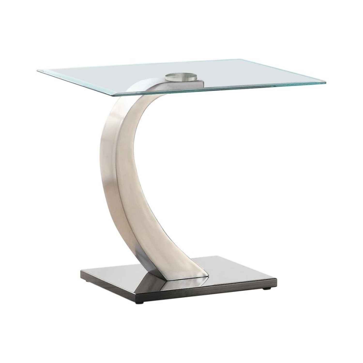 Ultra-Modern End Table W/ Floating Glass Top - image-0