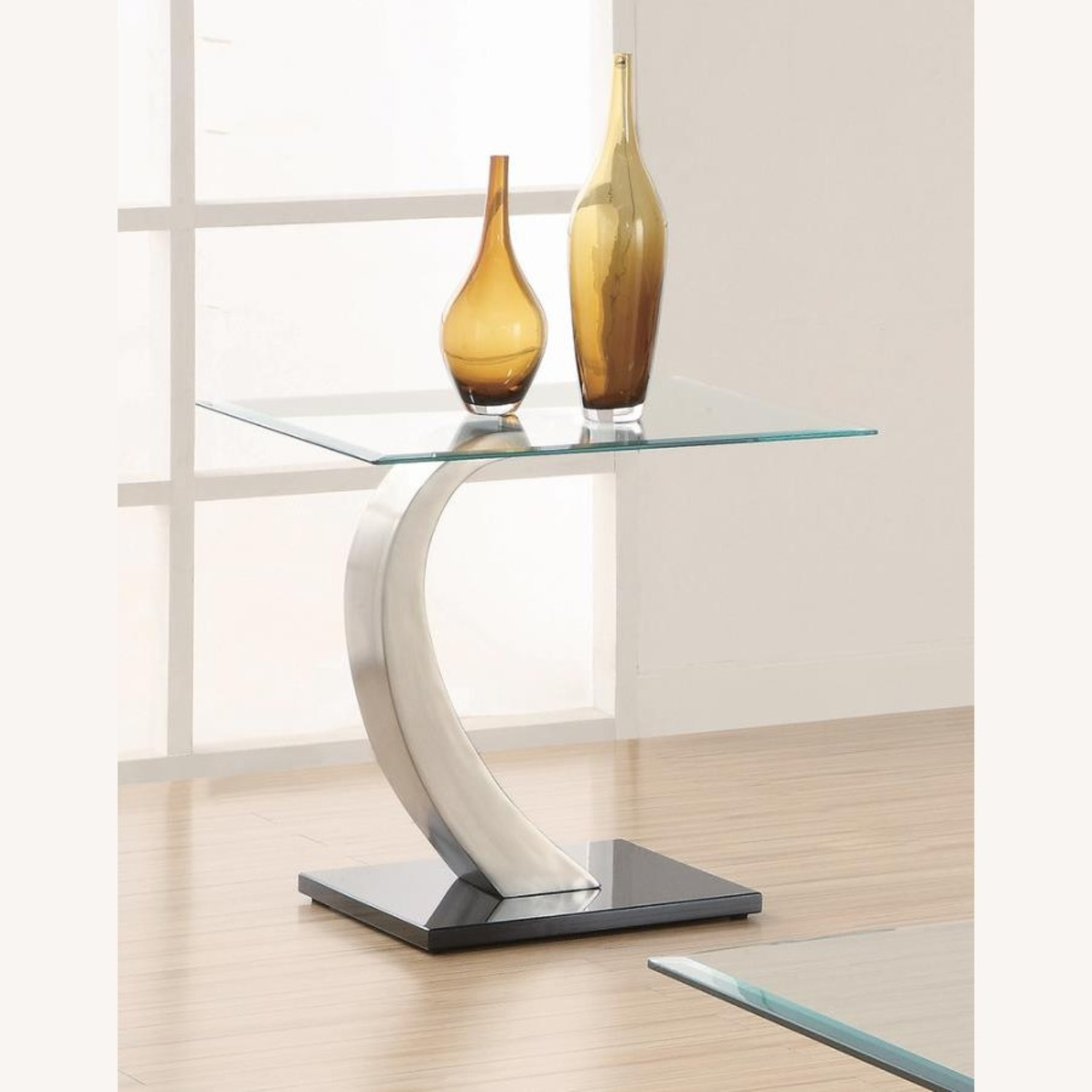 Ultra-Modern End Table W/ Floating Glass Top - image-1