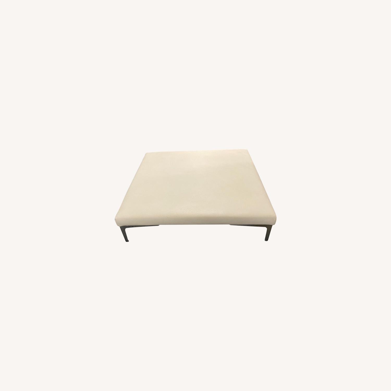 Roche Bobois White Leather Square Table - image-0
