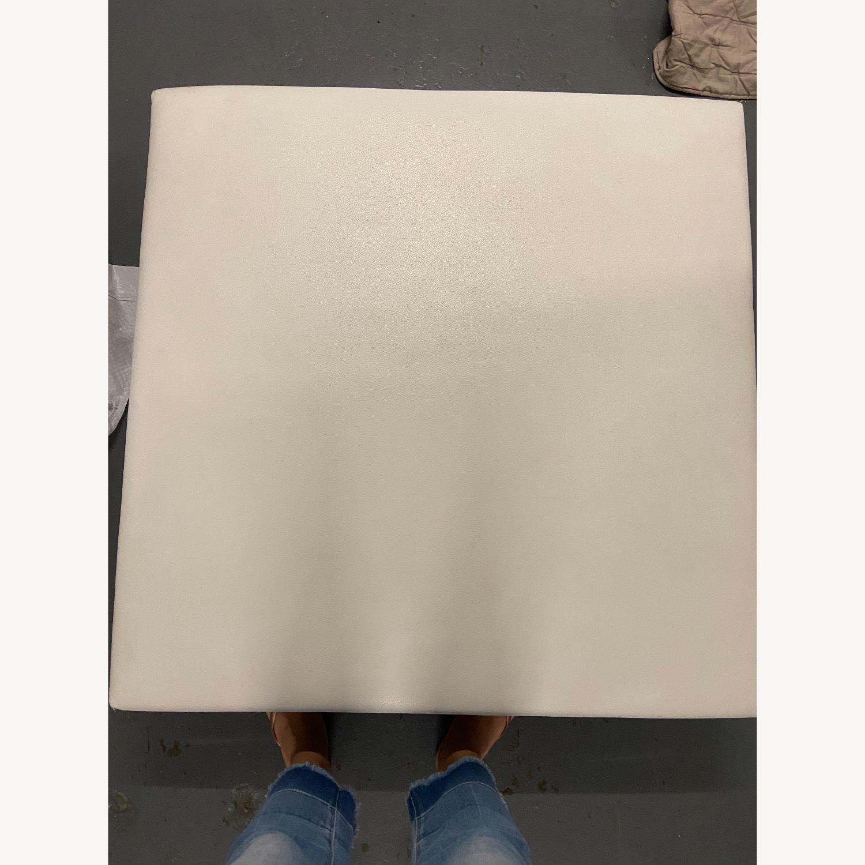 Roche Bobois White Leather Square Table - image-4