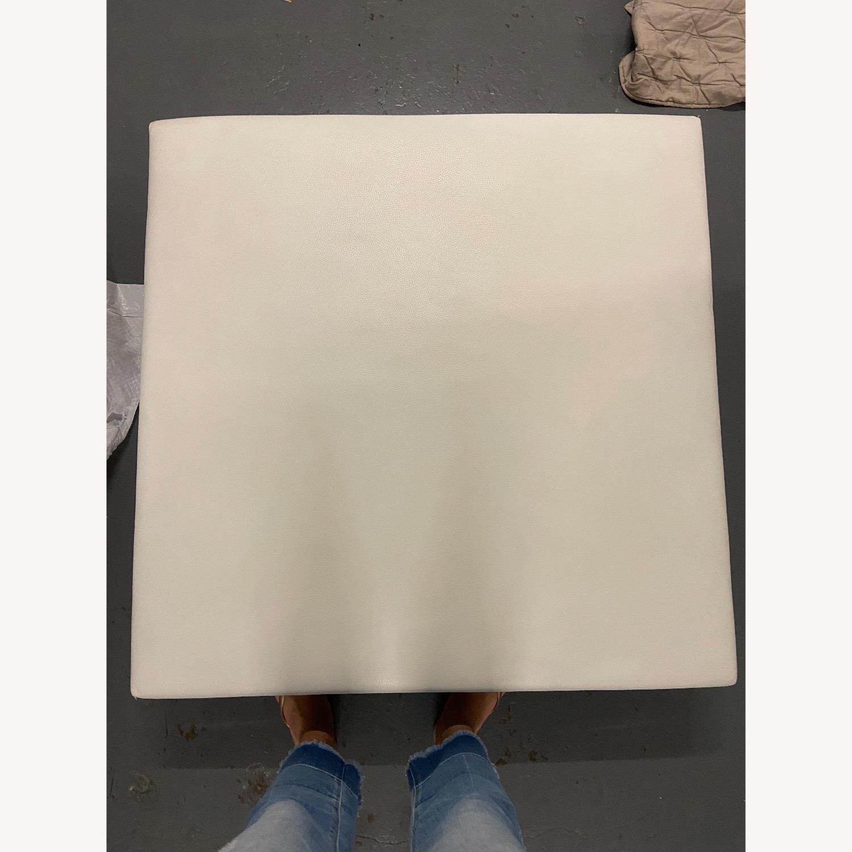 Roche Bobois White Leather Square Table - image-1