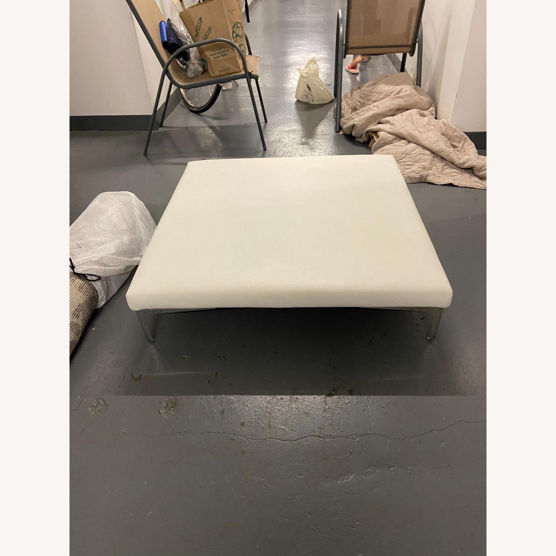 Roche Bobois White Leather Square Table - image-3