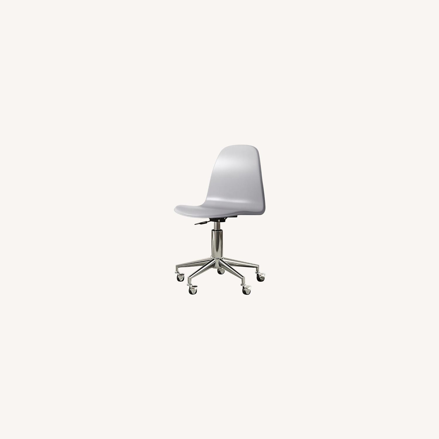 Crate & Barrel Class Act Light Grey & Silver Desk Chair - image-0
