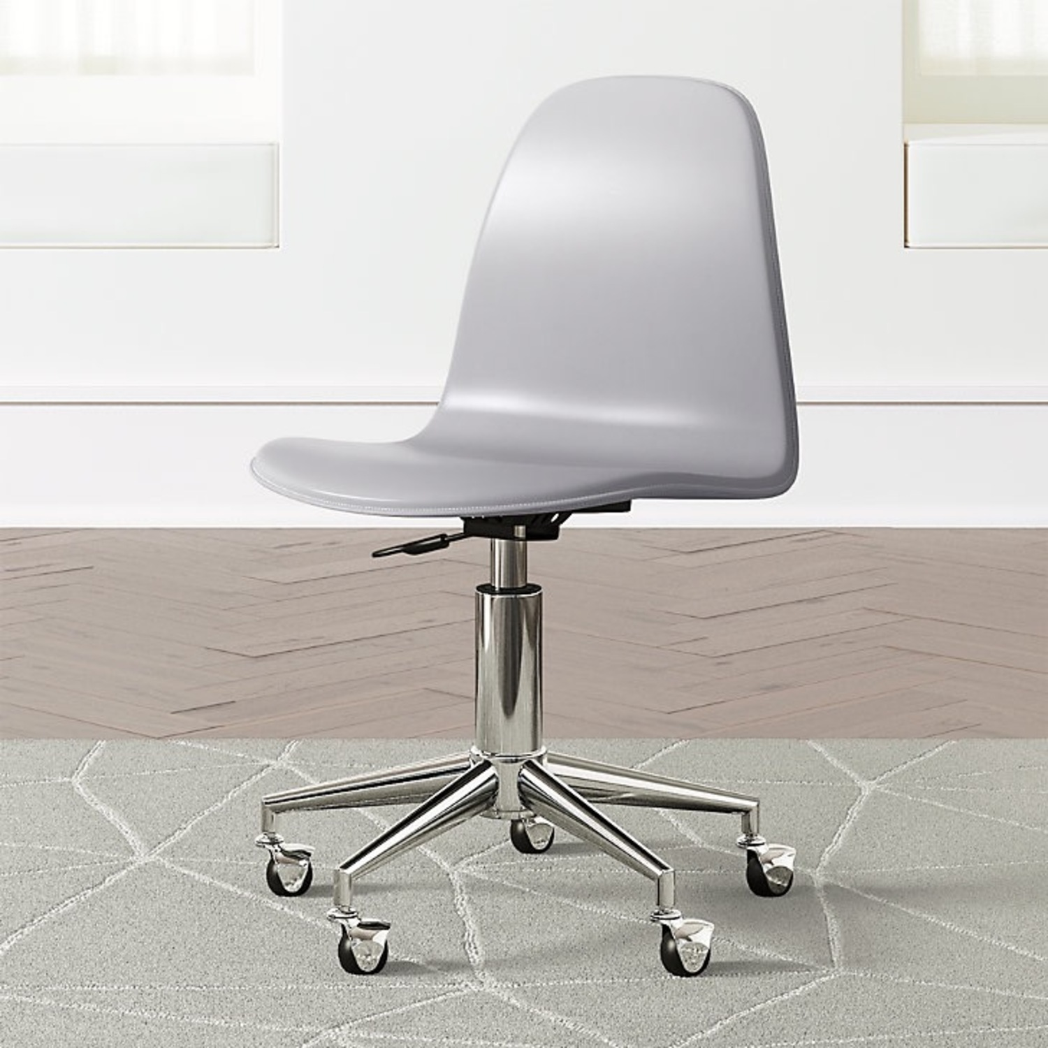 Crate & Barrel Class Act Light Grey & Silver Desk Chair - image-1