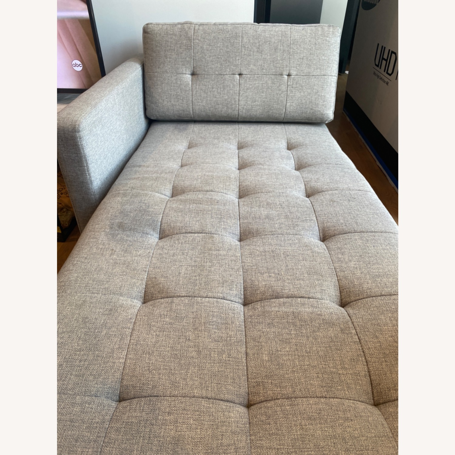 CB2 Holden Grey Chaise Lounge - image-3