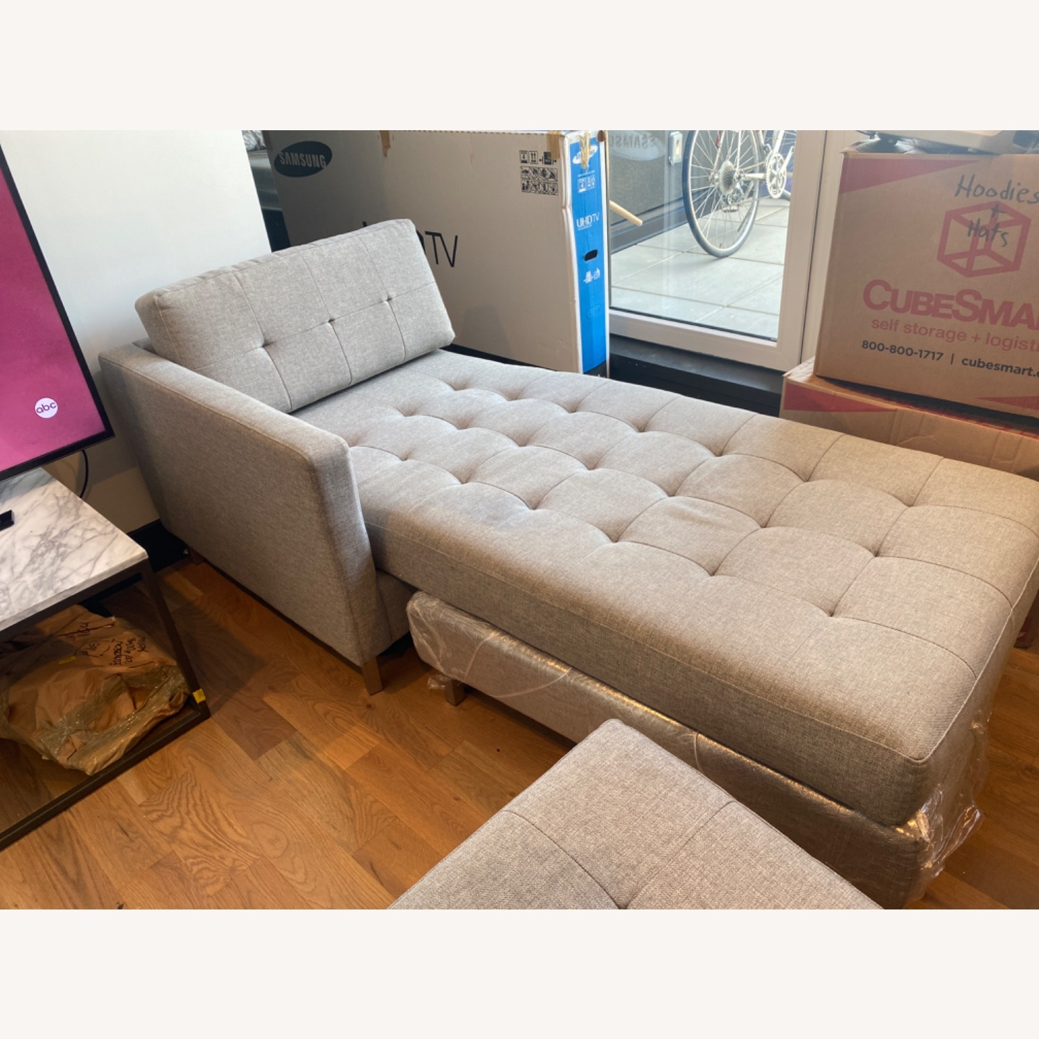 CB2 Holden Grey Chaise Lounge - image-2