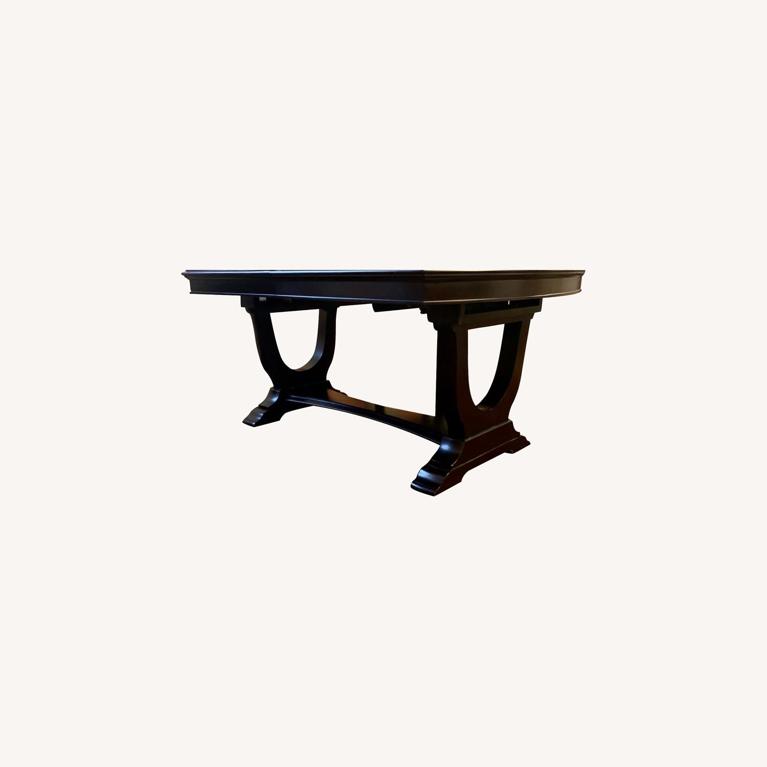 Raymour & Flanigan Dark Brown Dining Table with Leaves - image-0