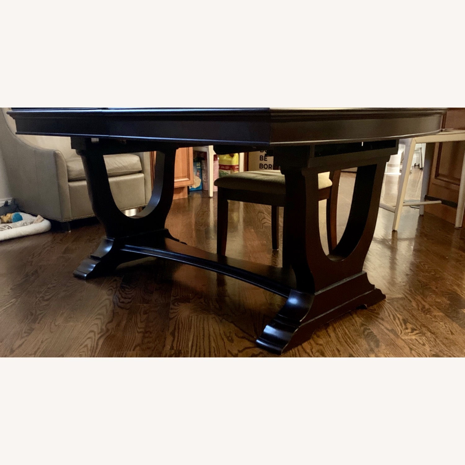 Raymour & Flanigan Dark Brown Dining Table with Leaves - image-1